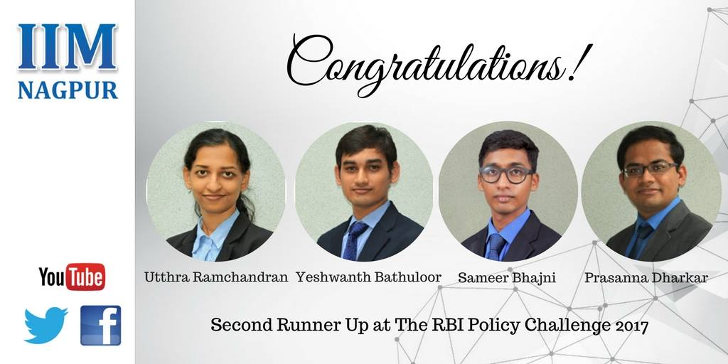 Team IIM Nagpur\'s views on Inflation as an iniquitous tax appreciated at RBI Policy Challenge 2017